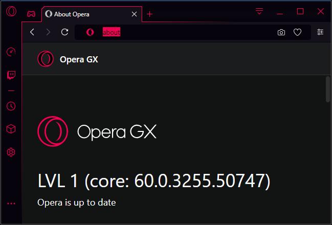 Opera GX level 1 version number