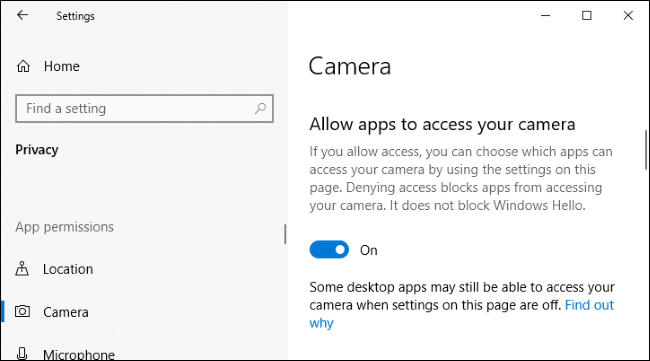 Option to disable camera access for applications in Windows 10's Settings app