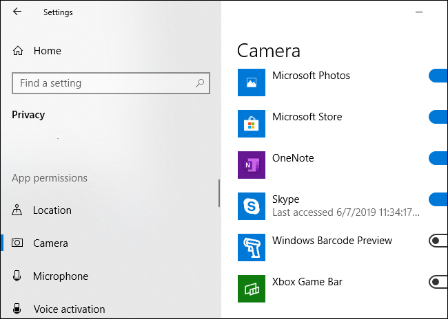 Windows 10 showing which applications have used your PC's camera