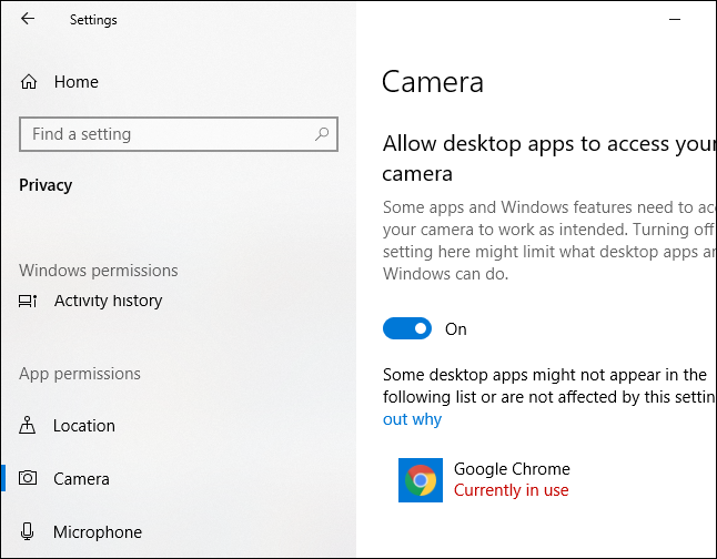 Windows 10 Camera settings showing which application is using your camera