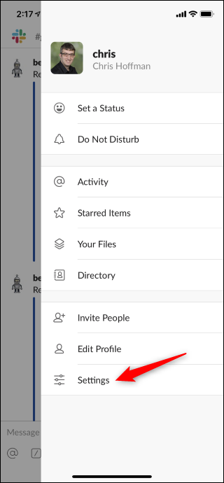 Open Settings screen from sidebar menu in Slack on iPhone