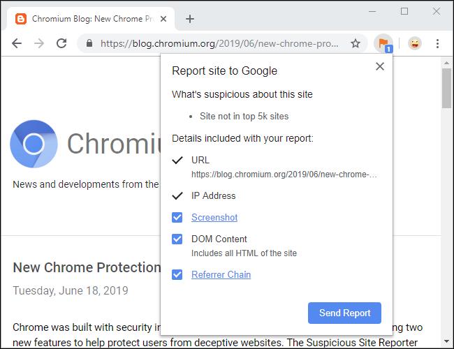 Chrome Suspicious Site Reporter extension
