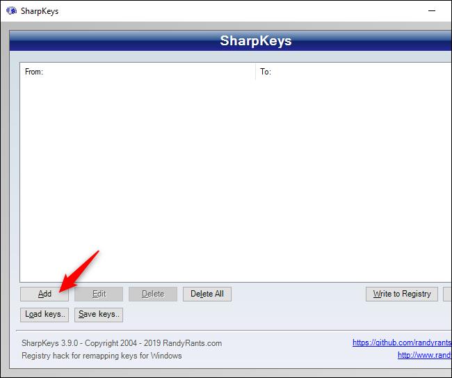 Ventana de SharpKeys que muestra el botón Agregar