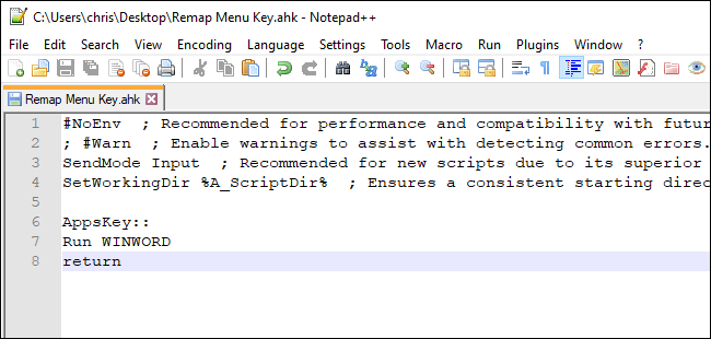 Making the menu key launch Word with an AutoHotkey script