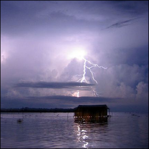 Lightning strikes over the Catatumbo river