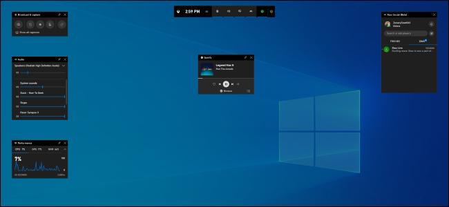 Windows 10 version 1903's new game bar overlay