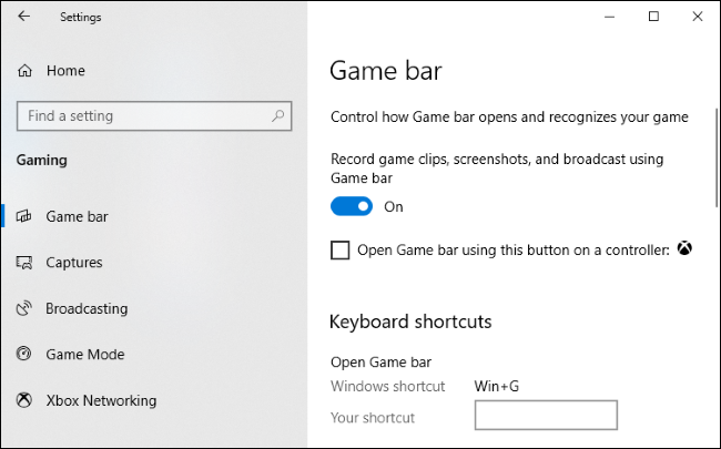 Option to enable or disable Game bar in Settings