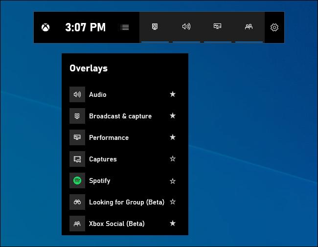 Game bar overlays menu