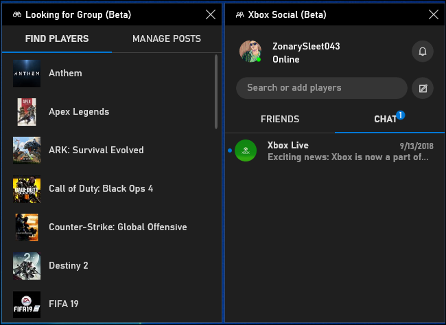 Looking for Group and Xbox Social beta panels in game bar