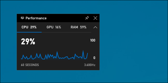 Performance widget in Windows 10's game bar