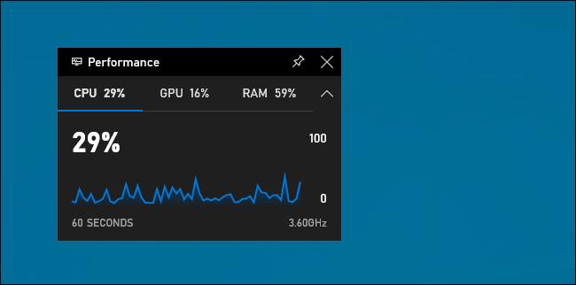 Widget de rendimiento en la barra de juegos de Windows 10