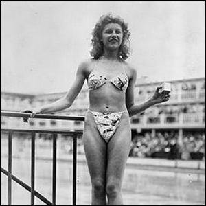 Micheline Bernardini modeling the first modern bikini