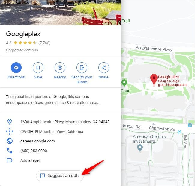 Suggest an Edit button in Google Maps