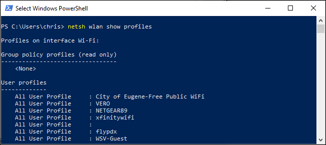 List of saved wireless profiles in PowerShell