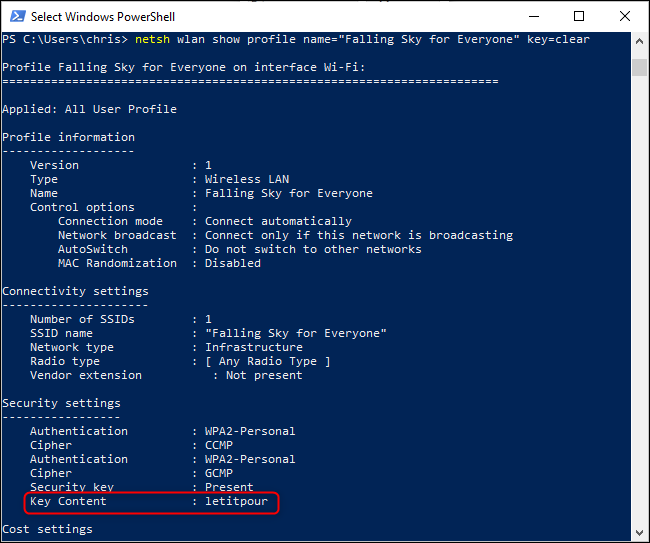 Finding a saved Wi-Fi password from the Windows command line