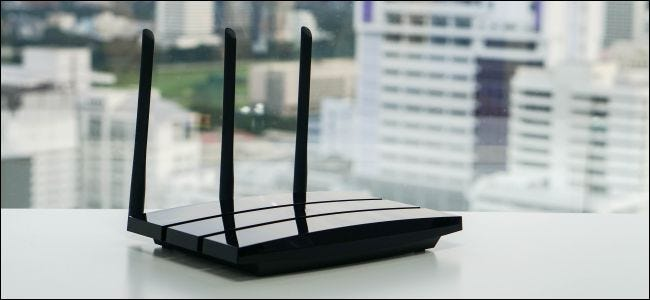 Wireless router on table