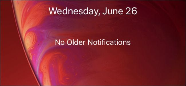 iPhone lock screen with no older notifications