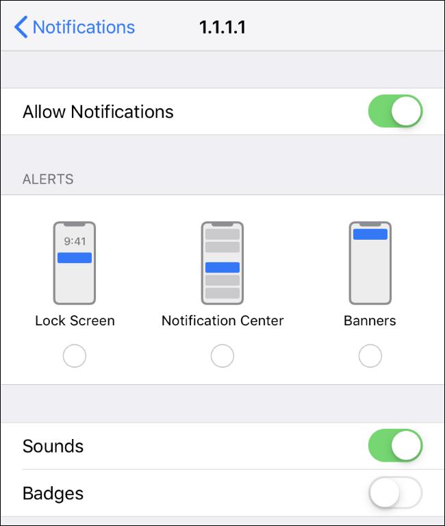 """iPhone's app """"Notifications"""" screen."""