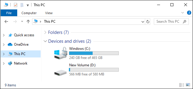 This PC view showing C: and D: drives on Windows 10
