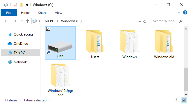 USB drive mounted as a folder on Windows 10.