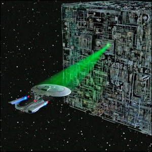 The Borg cube-shaped ship, a classic example of greebling