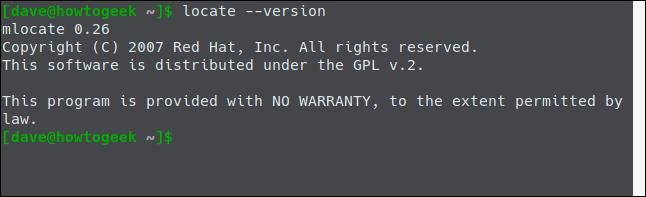 locate --version in a terminal window