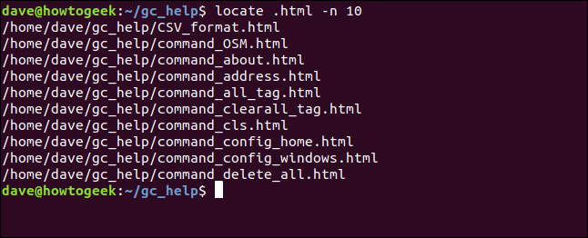 search results from located limited to 10 results in a terminal window