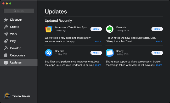 The App Store Software Updates menu on macOS.