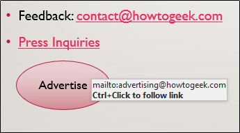 mailto link in object