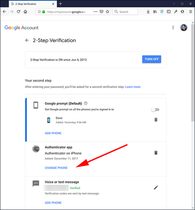 """Google's 2-Step Verification web page with the """"Change Phone"""" option pointed out."""