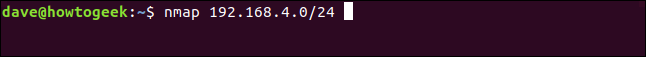 nmap 192.168.4.0/24 in a terminal window