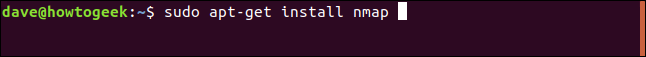 sudo apt-get install nmap in a terminal window