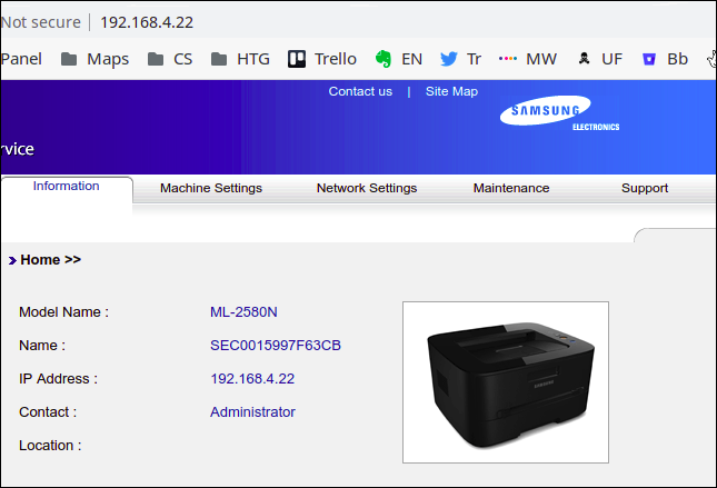 Samsung printer embedded web server in a browser window