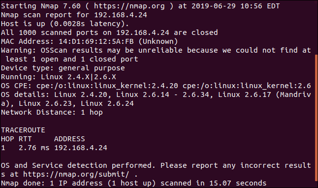 nmap output in a terminal window