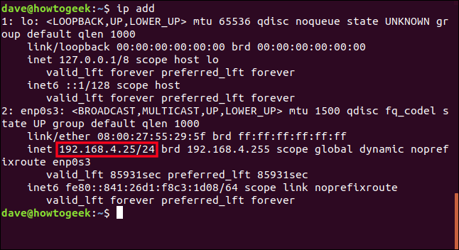 output from ip address in a terminal window