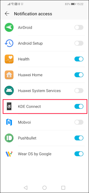 KDE connect with notification permission granted