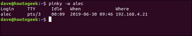 pinky report with no name column in a terminal window