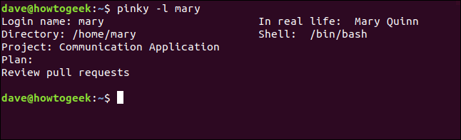 extra information in the pinky report in a terminal window
