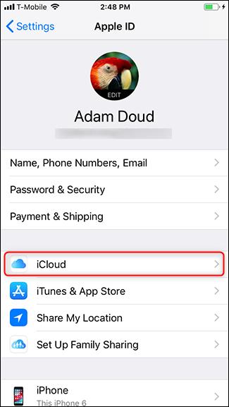 Tap iCloud.