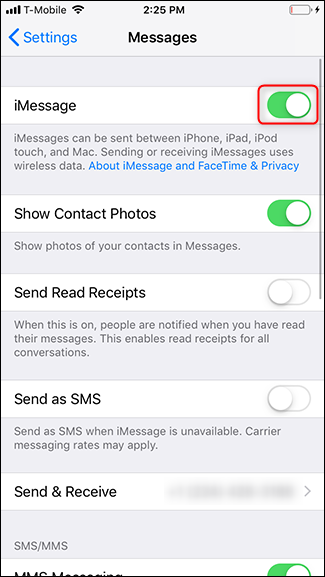Turn off the toggle next to iMessage.