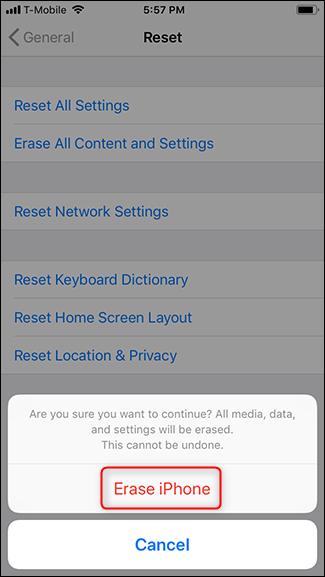 Tap Erase iPhone again.