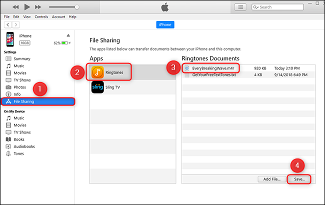 look for the file tone in file sharing
