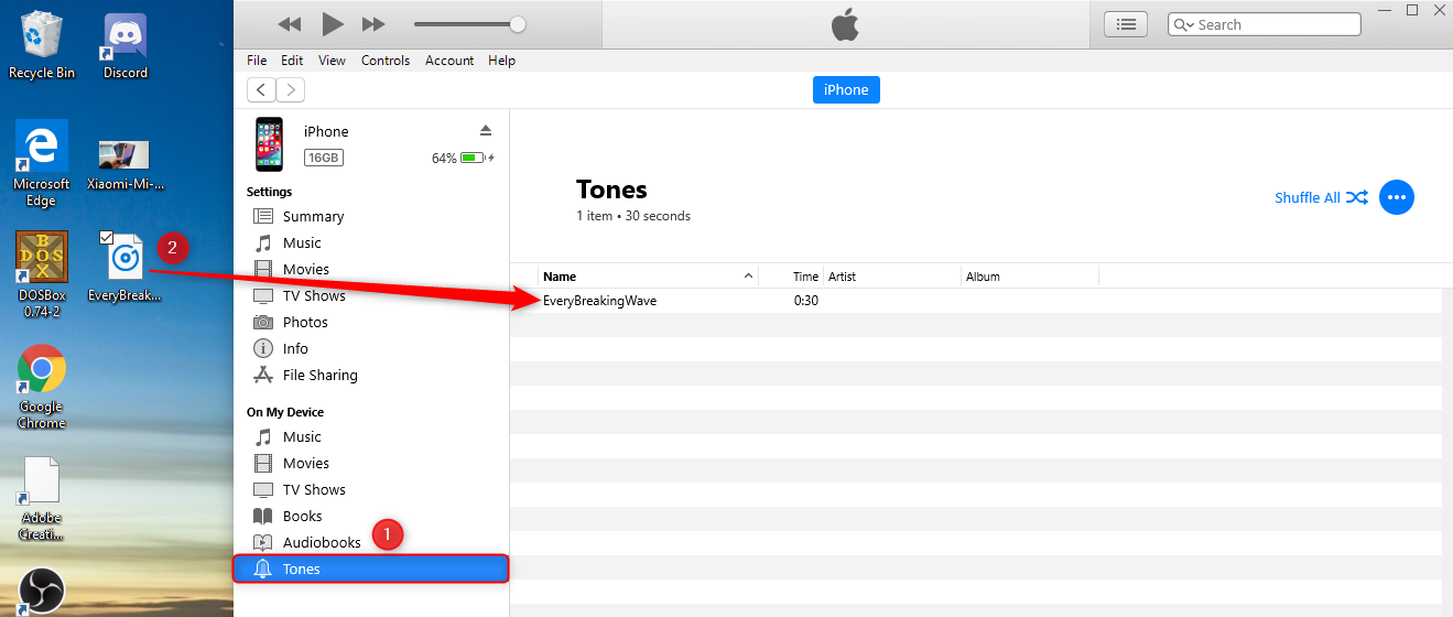 Drag the ringtone to itunes