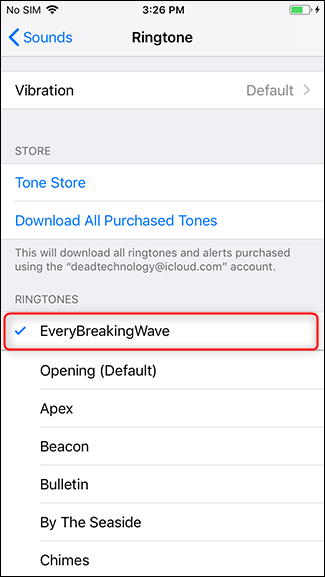 Select your new ringtone.