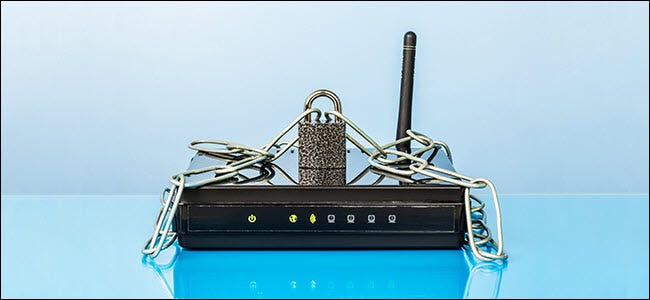 Router, chain and lock. Password protected Wi-Fi network