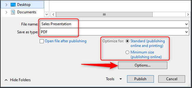 save file name and optimization options