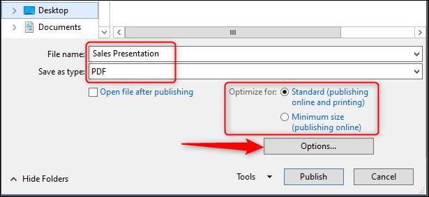 save file name and optimization options