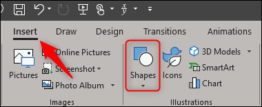 select insert tab and select shapes