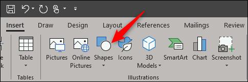 shapes option in illustration group