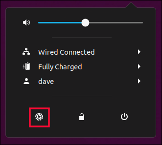 system menu with settings icon highlghited